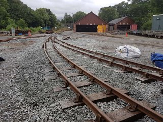 Rails leading to roads 4 and 5 in the shed, looking towards the Maenofferen Sheds