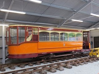 The restored deck of an ex-Glasgow tram that has been rebuilt in the carriage shed